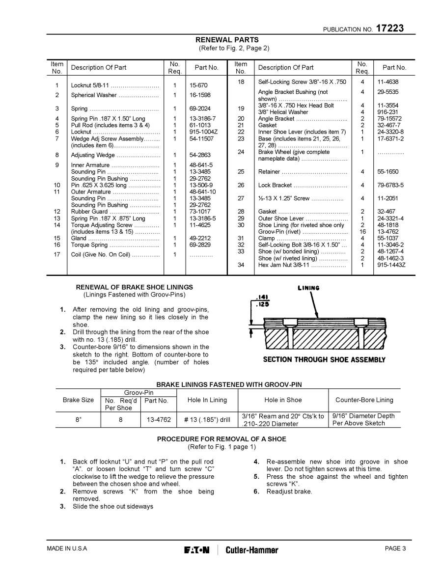 Cutlerhammerdirect products shoe brakespublications instruction sheet for type gh505 8 inch dc magnetic shoe brake publication no 17223 publicscrutiny Choice Image